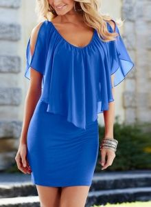 V Neck Open Shoulder Ruffle Bodycon Dress