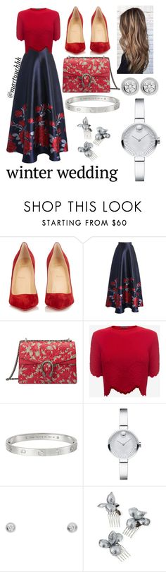 """""""Red&Blue winter wedding"""" by martuuchhh ❤ liked on Polyvore featuring Christian Louboutin, Chicwish, Gucci, Alexander McQueen, Cartier, Movado and Gigi Burris Millinery"""