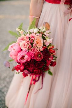 Love this idea for an #ombre #pink #wedding #bouquet #lushbouquet #gorgeous #white #red designed by @noonansdesigns See more here: http://noonansdesigns.com/portfolio/lush-bouquets/