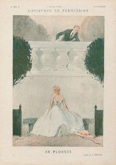 André Pécoud 1924 ''L'Aviateur en Permission'' Elegant Parisienne