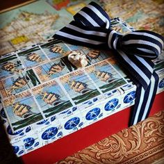 What a fabulous gift box my friend Roberta made, repurposing a chocolate box. #philately #stampart #stamp #cuttysark
