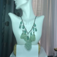 Seafoam Green Sea Glass and Dangling Beads Statement Necklace by CinnamonJasmine on Etsy
