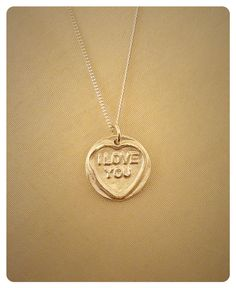 Fine silver clay Love Heart pendant I Love You