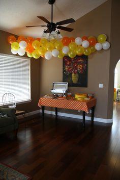 #Yellow #White #Orange Balloon Banner. See tutorial here: http://www.youtube.com/watch?v=ltpjm1qHHAE=player_embedded