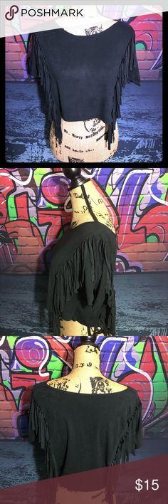 0e2bc7653ecb6b AKIRA SUEDE MATERIAL FRINGE CROP BLOUSE ❤ ❤ ❤ Gently used worn twice