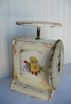 Antique Roses scale original ooak painting cherries and flowers on vintage kitchen scale FREE usa shipping.  via Etsy.