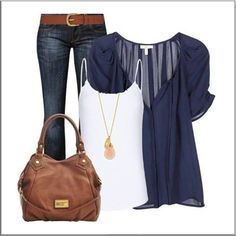 CHATA'S DAILY TIP!: Wear a loose, flowing chiffon blouse over a stretch top for a trendy casual look. If you have a fuller bust or rounded tummy replace the stretch top with a camisole instead. The longer necklace adds the extra bit of va-va-voom to ensure this outfit looks casual but well groomed. COPY CREDIT: Willene Sieberhagen http://chataromano.com/consultant/willene-sieberhagen/ IMAGE CREDIT: Stylish Guru's Facebook page