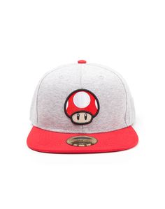 Official Nintendo s Super Mario Bros - Power Up Mushroom Grey Snapback Cap ( New) 5621e46b62