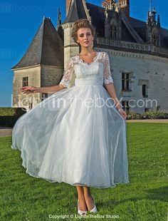 $199.99 - A-line V-neck Ankle-length Organza Lace Wedding Dress - USD $ 199.99