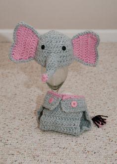 Elephant baby hat and diaper cover set @Cheryl Alspach