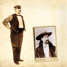 "When the bullet that murdered Wild Bill Hickok (right) struck William Massie (left) in the wrist, the riverboat captain rushed out of the saloon, screaming, ""Wild Bill has shot me.""  – Massie Courtesy William B. Secrest; Hickok courtesy Greg Martin Auctions, June 16, 2003 –"