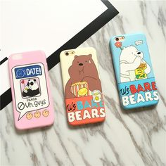 "2016 Fashion ""We Bare Bears"" Phone Case for iPhone 7 7plus 6 6s 6plus / 6s plus Soft TPU Gel Case Back Cover Free Shipping"