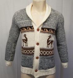 59260d12af739 Vtg HAND KNIT Mens S Cowichan Cardigan Sweater Peruvian Alpaca Wood Buttons  EUC  Handmade Men s