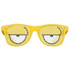 Cartoon Eyes Sleepy Yellow Wayfarer Sunglasses
