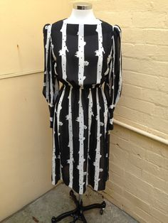 1970's/ Hal Ferman/ black and white dress by PearlsVintageCloset