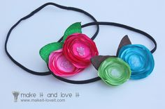 Satin Flowers | Make It and Love It: melt satin circles to create a flower effect. bouquet, headpiece?
