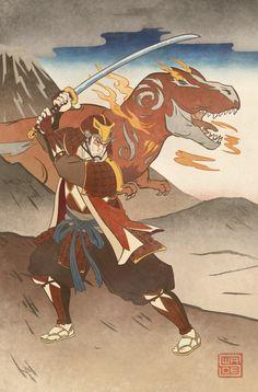 Ukiyo-e Red Ranger - MMPR Comic Variant Cover by swadeart on DeviantArt