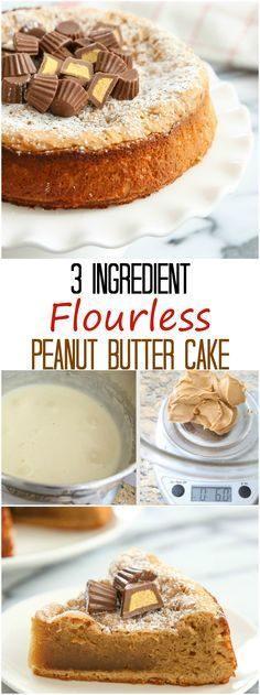 3 Ingredient Flourless Peanut Butter Cake. Gluten free, easy and makes a great snack cake!