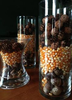 Hunting and Gathering: An Acorn, Popcorn and Pine Cone Fall Decoration. Done 2gether. Check out www.beingbetter2gether.com.