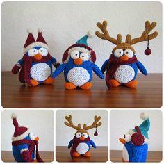 scheme for free Penguin Christmas amigurumi Tutorial Amigurumi, Crochet Patterns Amigurumi, Crochet Toys, Free Crochet, Crochet Christmas Decorations, Christmas Crafts, Christmas Ornaments, Crochet Penguin, Yarn Projects