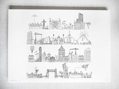 Rotje Skyline Print by MaryandtheLocks on Etsy https://www.etsy.com/listing/486513108/rotje-skyline-print
