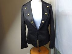 Black Double Breasted jacket Size 4 By Zoe D. Ladies brass button Band Coat MED  #ZoeD #MilitaryishBandcoat