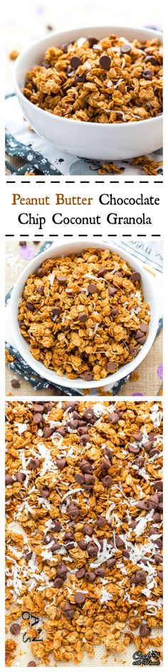 Peanut butter, chocolate chips and shredded coconut come together in this lip smacking homemade granola!