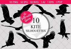 Kite Silhouette Clipart Vector includes PNG files with transparent backgrounds at The PNGs are approximately 10 inches at it's widest point. Pine Tree Silhouette, Silhouette Clip Art, Animal Silhouette, Black Silhouette, Eagle Silhouette, Silhouette Studio, Animal Cutouts, Shape Templates, Cricut