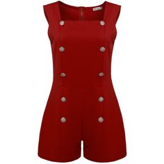 Meaneor Women's Sleeveless Square Collar Sexy Romper Playsuit Jumpsuit ($17) ❤ liked on Polyvore featuring jumpsuits, rompers, jump suit, sexy red romper, sexy red jumpsuit, sexy rompers and playsuit romper