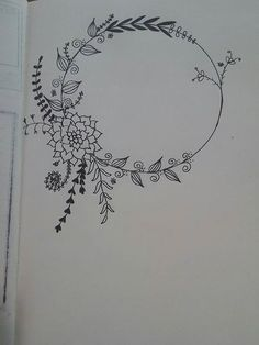 Simple Line Drawings, Easy Drawings, Hand Embroidery Patterns Flowers, Wreath Drawing, Envelope Art, Doodle Inspiration, Floral Drawing, Bullet Journal Art, Cross Stitch Borders