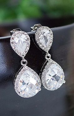 Gorgeous! Diamond earrings these would be perfect for your wedding day