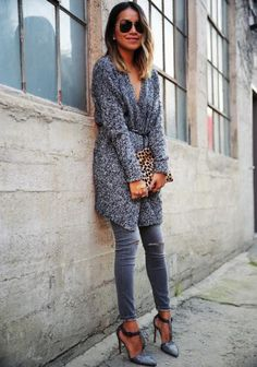 There's nothing prettier than a cozy monochrome look finished off with a punchy print. #Winter #FashionTrends