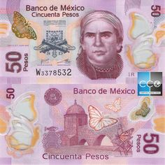 Mexican bank note, mexico 50 pesos Series Q. Mexican Peso, Blue Suit Wedding, Native Indian, Monarch Butterfly, World, Louis Xvi, Junk Journal, Bridges, Stamps