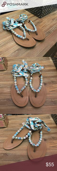 Ralph Lauren Beaded Paisley Lace Up Sandals Classic Ralph Lauren Style with a modern twist. Paisley print laced over beaded creates this beautiful and cute summer shoe. Perfect blue and pastel colors help this piece to stand out gorgeously. Let's have fabulous feet together! ❤️Well Kept Items ⭐️Top Rated Seller Accepts Offers Only Fair Pricing Bundle and Save ⚡️Fast Shipping Lauren Ralph Lauren Shoes Sandals