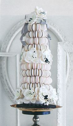 French macaron tower w/ ink-splattered roses and b/w stripe ribbons