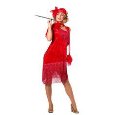 Jaren 20 glamour. Luxe rode roaring twenties jurk met veren en fluweellook voor dames. Inclusief hoofdband.
