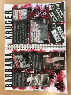 Barbara Kruger sketchbook page - A Level Art Sketchbook - art Barbara Kruger level Page sketchbook 613404411734041805 Textiles Sketchbook, Gcse Art Sketchbook, A Level Art Sketchbook Layout, Arte Gcse, Artist Research Page, Art Alevel, Photography Sketchbook, Artist Aesthetic, Sketchbook Inspiration