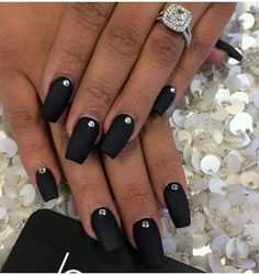 Love this. Black Matte Nails with a Diamond Stone