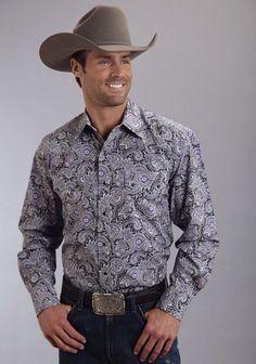 Stetson® Mens Purple Paisley Long Sleeve Snap Western Shirt
