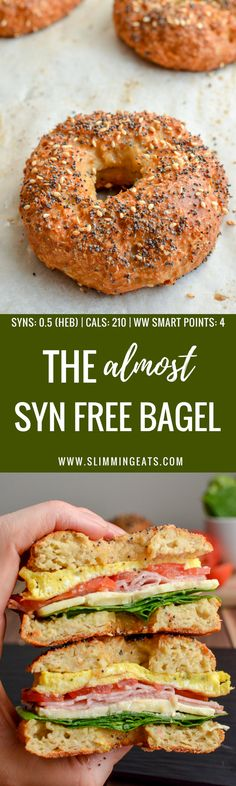 Now you can enjoy a proper tasty Almost Syn Free Bagel for breakfast or lunch. The hardest part will be deciding what to add as your filling. Just 1 Healthy Extra B and syns or 4 WW Smart Points. Gluten Free Vegetarian Slimming World and Weight Watc Slimming World Recipes Syn Free, Slimming World Diet, Slimming Eats, Weight Watchers Breakfast, Weight Watchers Meals, Lunch Recipes, Cooking Recipes, Healthy Recipes, Diet Recipes