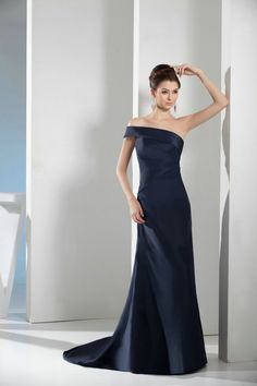 Fits Perfectly One Shoulder Sweep Train A Line Dark Blue Prom Dress £98.59