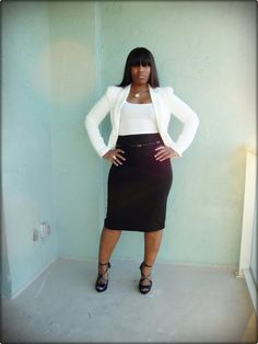 """The perfect pencil skirt for the curvy woman<3       """"if you like my curvy girl's fall/winter closet, make sure to check out my curvy girl's spring/summer closet.""""   http://pinterest.com/blessedmommyd/curvy-girls-springsummer-closet/pins/"""