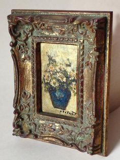 vintage miniature oil on copper painting daisies exquisite frame signed - paint and art