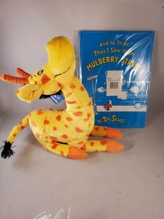 Dr Seuss To Think That I saw it on Mulberry  Street Stuffed Giraffe Plush + BOOK #Kohls Stuffed Giraffe, Dinosaur Stuffed Animal, Mulberry Street, Animal Books, Plush Animals, I Saw, Kohls, Pet Toys, Teacher Gifts