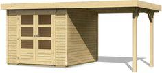 Gartenhaus 19 mm Flachdachhaus SPELLE Schleppdach 4,92 x 2,37 m Gerätehaus Holz