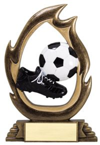Soccer Resin Flame Cut-Out Trophy | Dinn Trophy New! Featuring 40 letters of free trophy personalization, this trophy is an unbeatable value ($0.10 per additional character)!