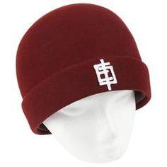 """EMILIO PUCCI c.1960's Burgundy """"EP"""" Applique Wool Felt Flapper Style Cloche Hat"""
