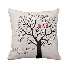 Etsy-Personalized LOVE BIRDS Wedding Pillow Cotton by JolieMarche, $35.00