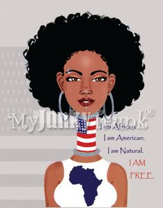 SALE I Am Free African American Art Black Art by MyJunkyTrunk