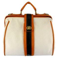 AIDEN Beige Canvas Orange Black Accent Top Handle Turn-lock Doctor Style Office Tote Handbag Purse Satchel Shoulder Bag